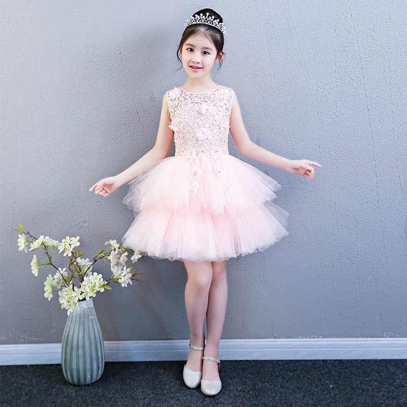 60d029ea6 ... Performance Show Prom Flower Girl Wedding Dresses Kids Trailing Layered  Party Princess Birthday Dress First Communion ...
