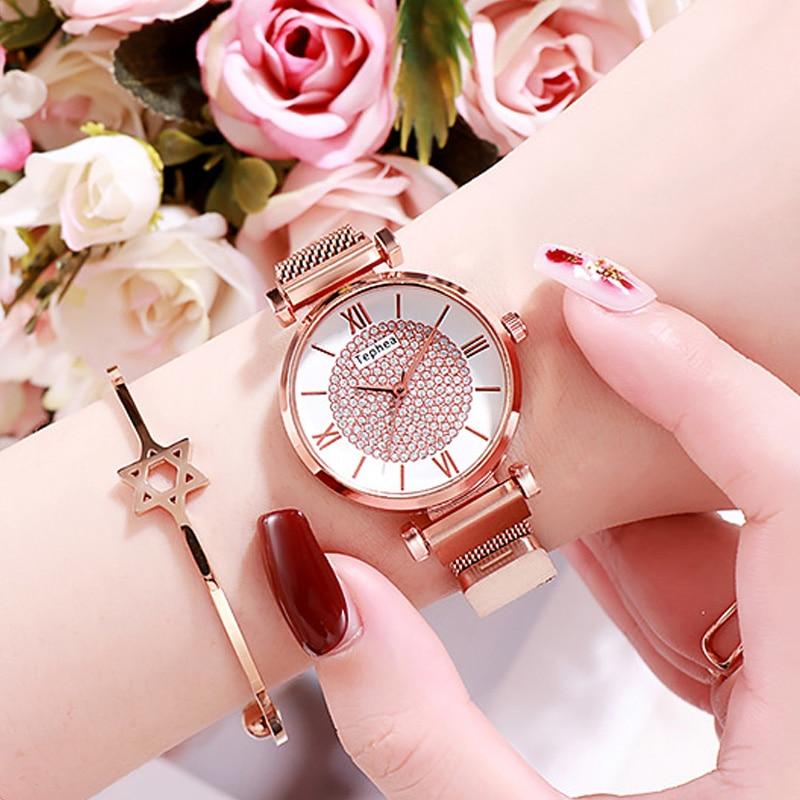 Women Watches Black Rhinestone Watch For Women Magnetic Quartz Wristwatch Luxury Crystal Watch Lady Metal Clock zegarek damski in Women 39 s Watches from Watches