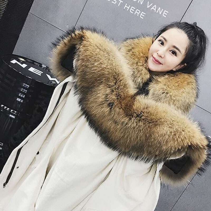 New Fashion Winter Jacket Women 2017 Brand Parkas Large Real Natural Raccoon Fur  Real Lambswool Liner Thicken Super Warm Coat