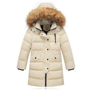 Image 3 - Утепленные теплые пуховики для девочек; Детские пуховые пальто с меховым воротником и капюшоном; Ветрозащитная куртка для девочек; Русская холодная зима