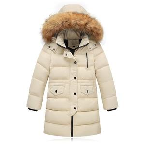 Image 3 - Kızlar kalınlaşma sıcak aşağı ceketler çocuk kürk yaka kapşonlu aşağı mont kız rüzgar geçirmez ceket rusya soğuk kış