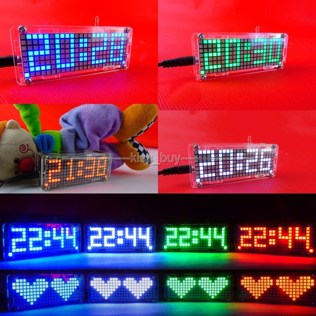 Dot Matrix DIY Kits digital clock electronic Alarm clock microcontroller time red led thermometer