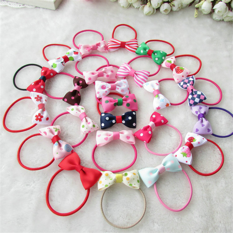 10Pcs/lot Fashion Cute Headband Flower Bow Children Pink Candy Color Hair Accessories Elastic Bands Baby Girl Gift Hairband free shipping 2 colors newborn kid girl elastic flower headband hairband hair accessories