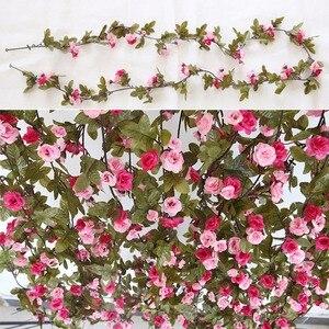 Image 5 - 230 cm/91in משי רוז חתונת קישוטי קיסוס גפן פרחים מלאכותיים קשת דקור עם ירוק עלים תליית קיר זר a0332