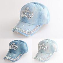 fb2fc11a1a8 Women Adjustable Rhinestone Diamante Crown Denim Sun Baseball Hat Cap Women  Caps A1 Px14(China