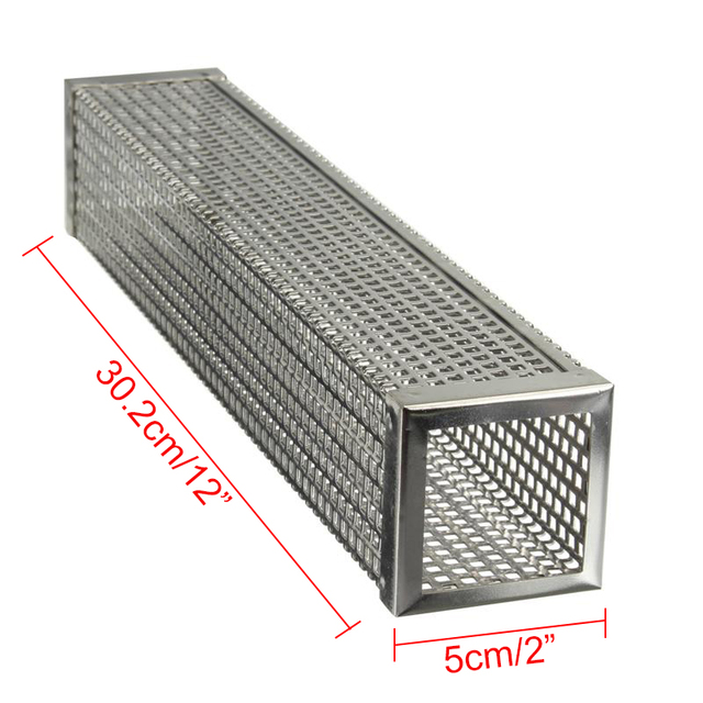 12in Pellet Smoker Tube Stainless Steel Cube Smoker Hot or Cold Smoking Generator BBQ Grill Smoking Mesh Tubes BBQ Accessoires 2