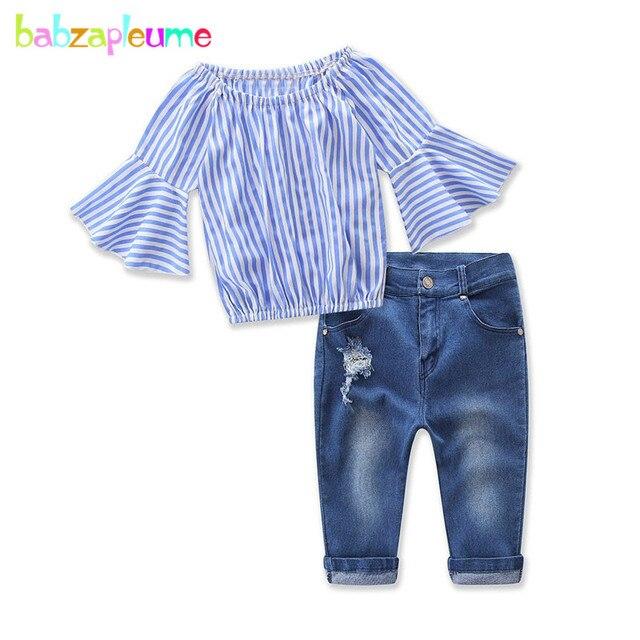 Zomer Kinderkleding.Babzapleume Zomer Kinderkleding Set Mode Streep Kids T Shirt Jeans