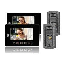 """Freeship 7 """"teléfono video de la puerta Cámara de Visión Nocturna para el Apartamento de vídeo cámara de la puerta con la caja a prueba de lluvia monitor LCD puerta de intercomunicación"""