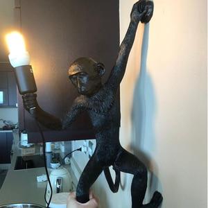 Image 4 - Подвесные светильники в виде обезьяны из смолы, Подвесной Настенный светильник для гостиной, Домашний Светильник E27, лампа kroonluchter Luminaria Luces Decoracion