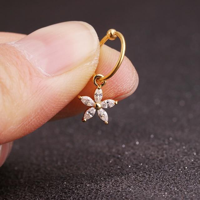 Sellsets New gold heart hexagon crystal tragus daith earrings helix cartilage hoop septum nostril piercing jewelry 4