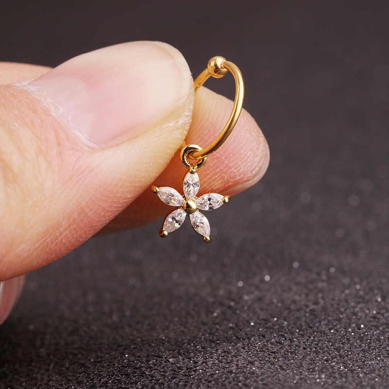 Sellsets חדש 1 חתיכה זהב לב משושה קריסטל tragus daith עגילי helix סחוס חישוק מחץ נחירי פירסינג תכשיטים