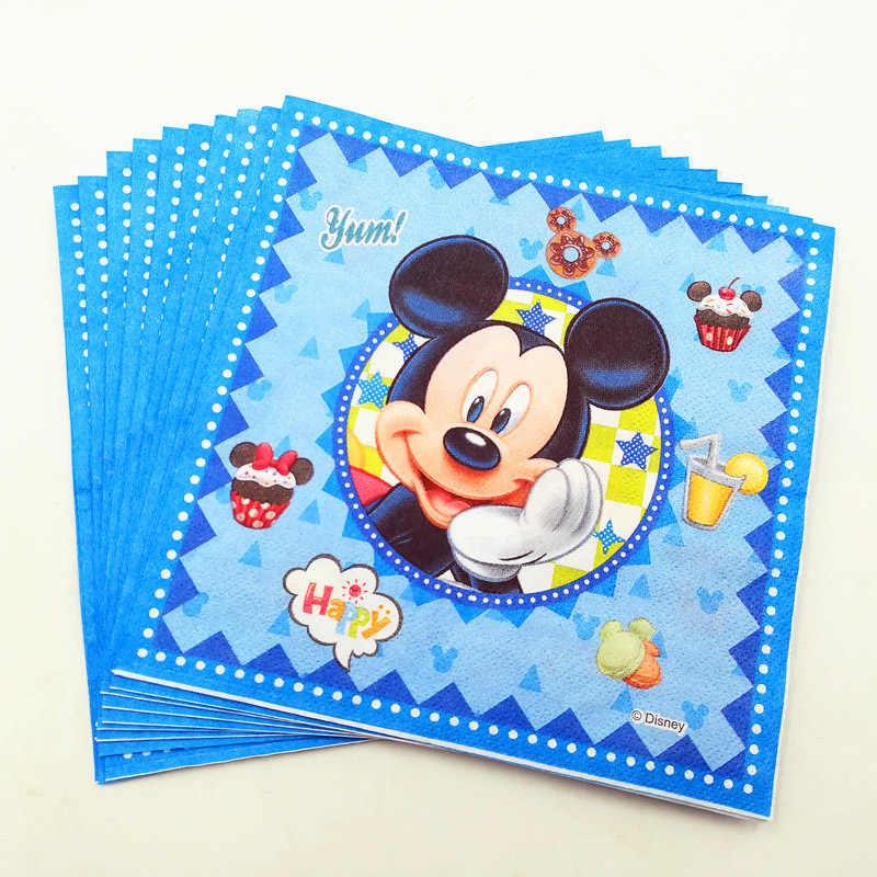 Suministros de decoración para fiesta de cumpleaños de Mickey Mouse juego de vajilla servilleta plato taza servilleta tela servilletas niños Baby Shower Favor regalo
