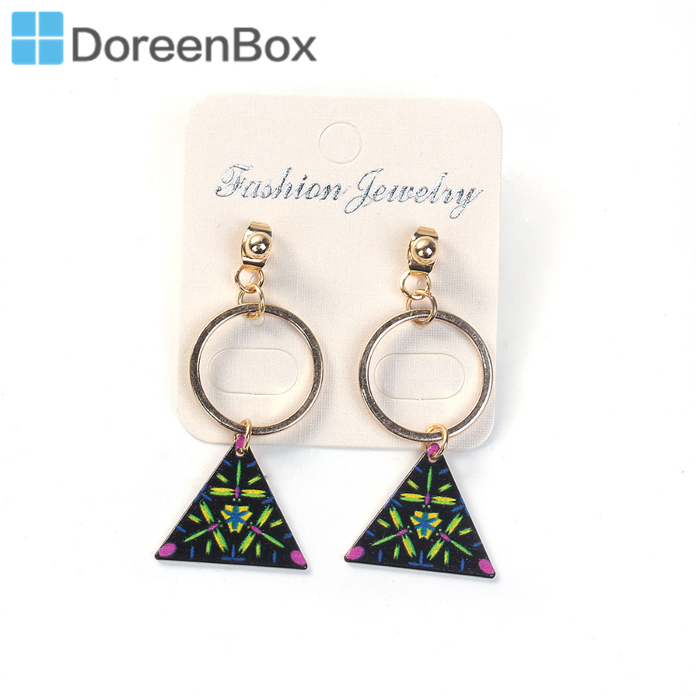 Doreen Box Cute & Roamntic Drop Earrings Gold Color Black Triangle 3 ...