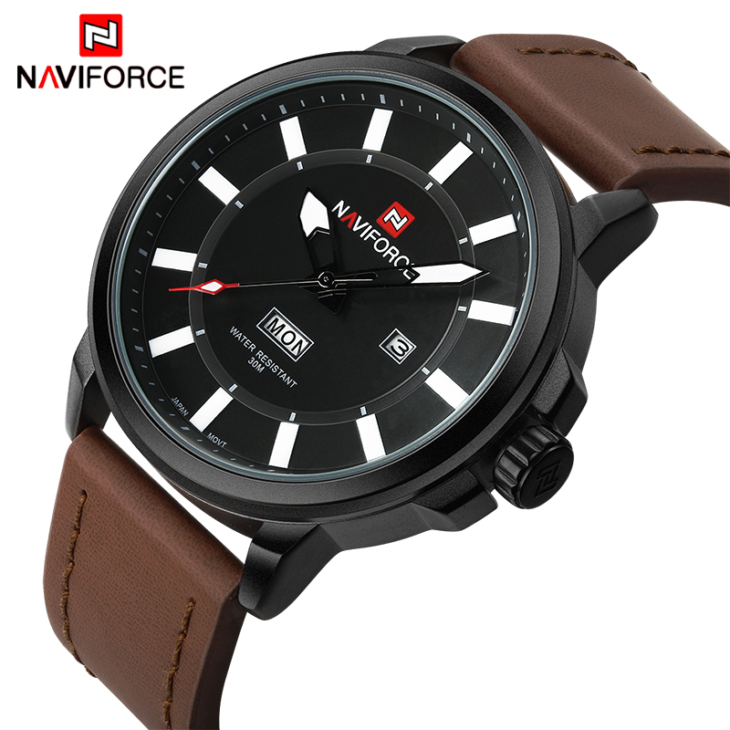 Prix pour De luxe Marque NAVIFORCE Hommes Sport Étanche Montres Hommes de Quartz Date Horloge Armée Militaire En Cuir Montre-Bracelet Relogio Masculino