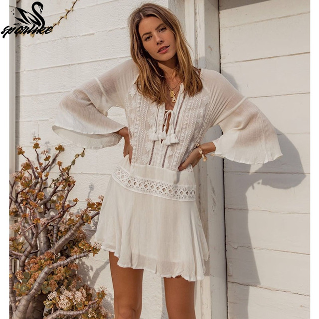 033466bea768b5 2019 Sexy Beach Cover Up Swimsuit White Lace Tassels Beach Dress Women  Bikini Swimwear Bathing Suit Summer Beach Wear Tunic