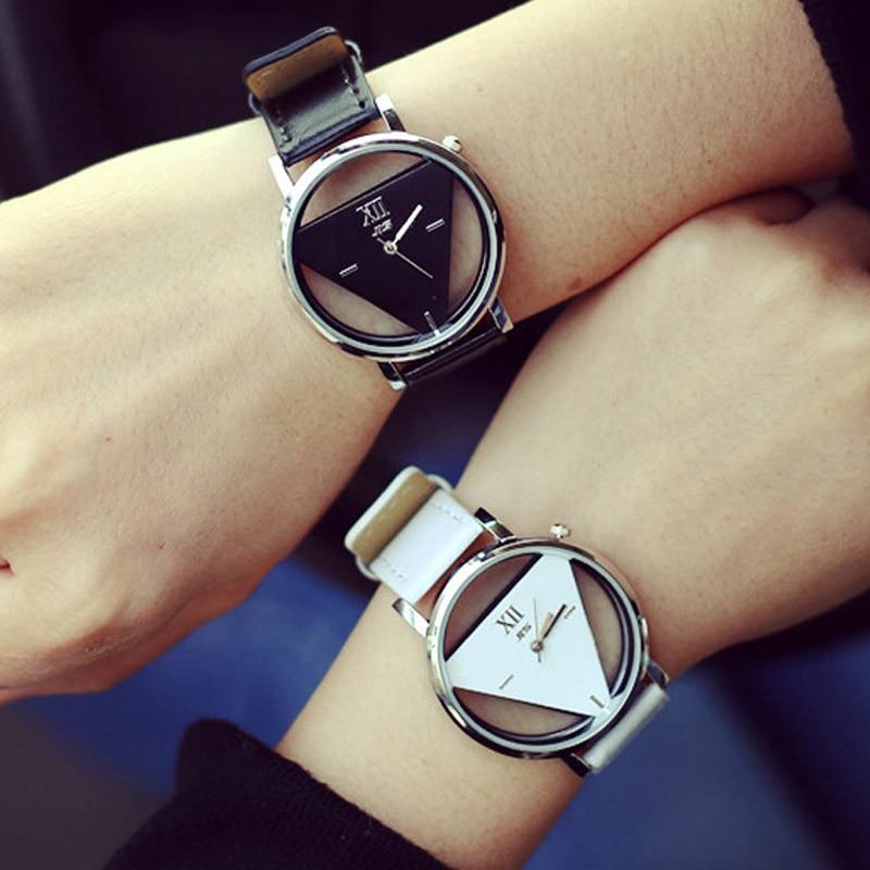 Luxury Skeleton Triangle Watch Women Brand Leather Wa