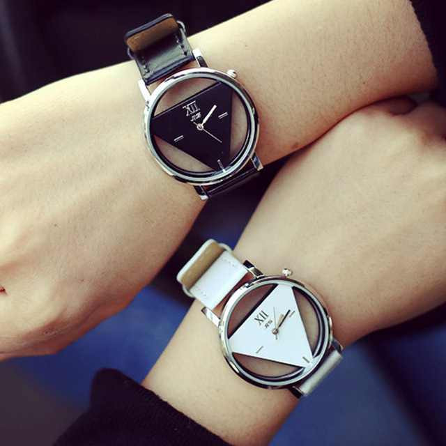 Luxury Skeleton Triangle Watch Women Brand Leather Watches Ladies Popular Casual Fashion Quartz Watch Relogios Femininos Clock
