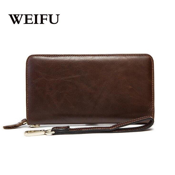 ФОТО Cowhide men's wallet Wax oil skin Hand bag card holder Men Leather purse