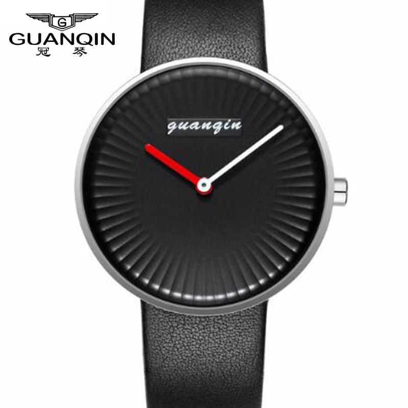 где купить GUANQIN Ultra-Thin Simple Quartz Watch Men Top Brand Mens Watches Luxury Leather Quartz Men Fashion Wristwatch Relogio Masculino по лучшей цене