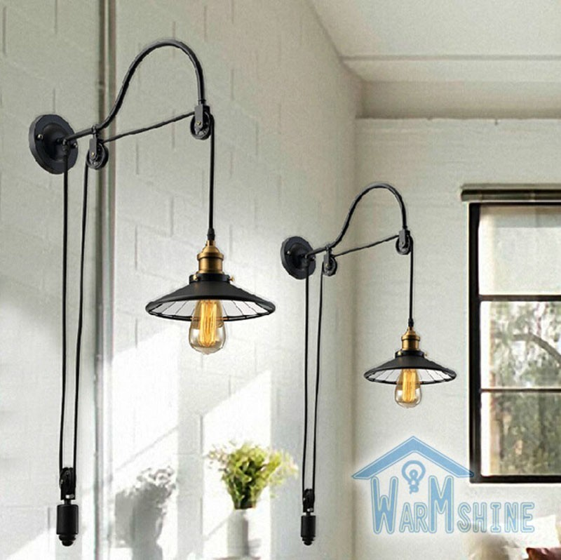Loft Style Antique Mirror Face Wall Lighting Lift Retractable Pulley Bar /  Cafe Sconce Lighting  Free Shipping mirror silver chrome vespa open face