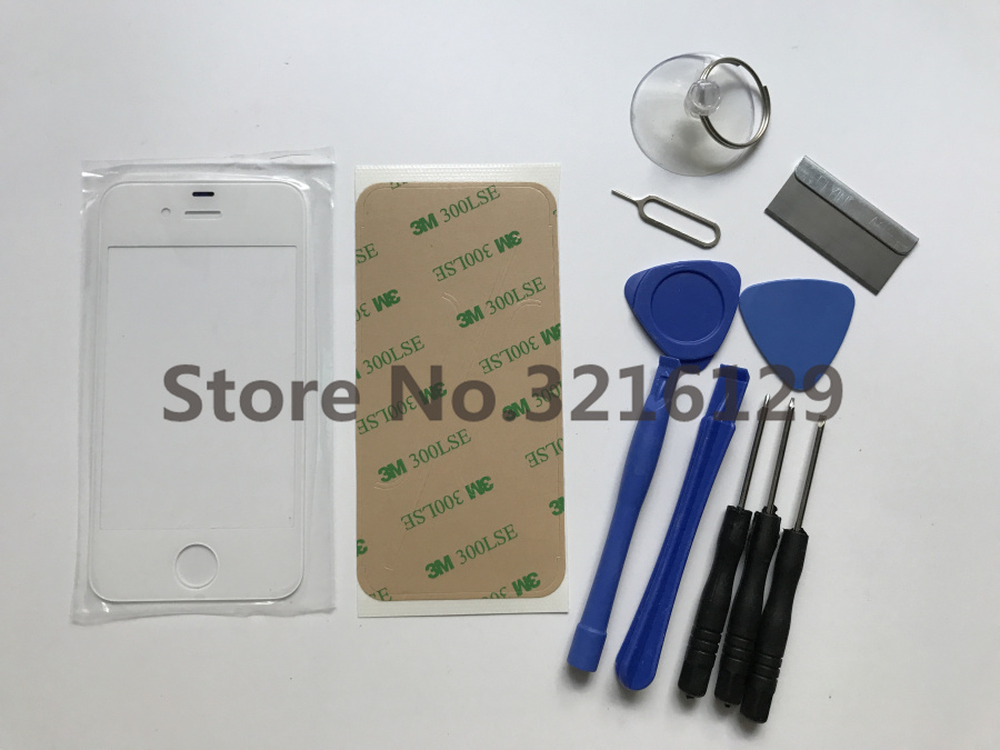 Replacement Front Outer Glass Lens Cover Replacement Parts For IPhone 6 6S 5S 4 4S 6plus TouchScreen Protector+ Tools+adhesive