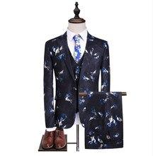 d9e52ef3c72a3 (Veste + gilet + pantalon) 2019 fleur couleur arrivée hommes Slim Fit  décontracté affaires costumes Blazers hommes laine costume.