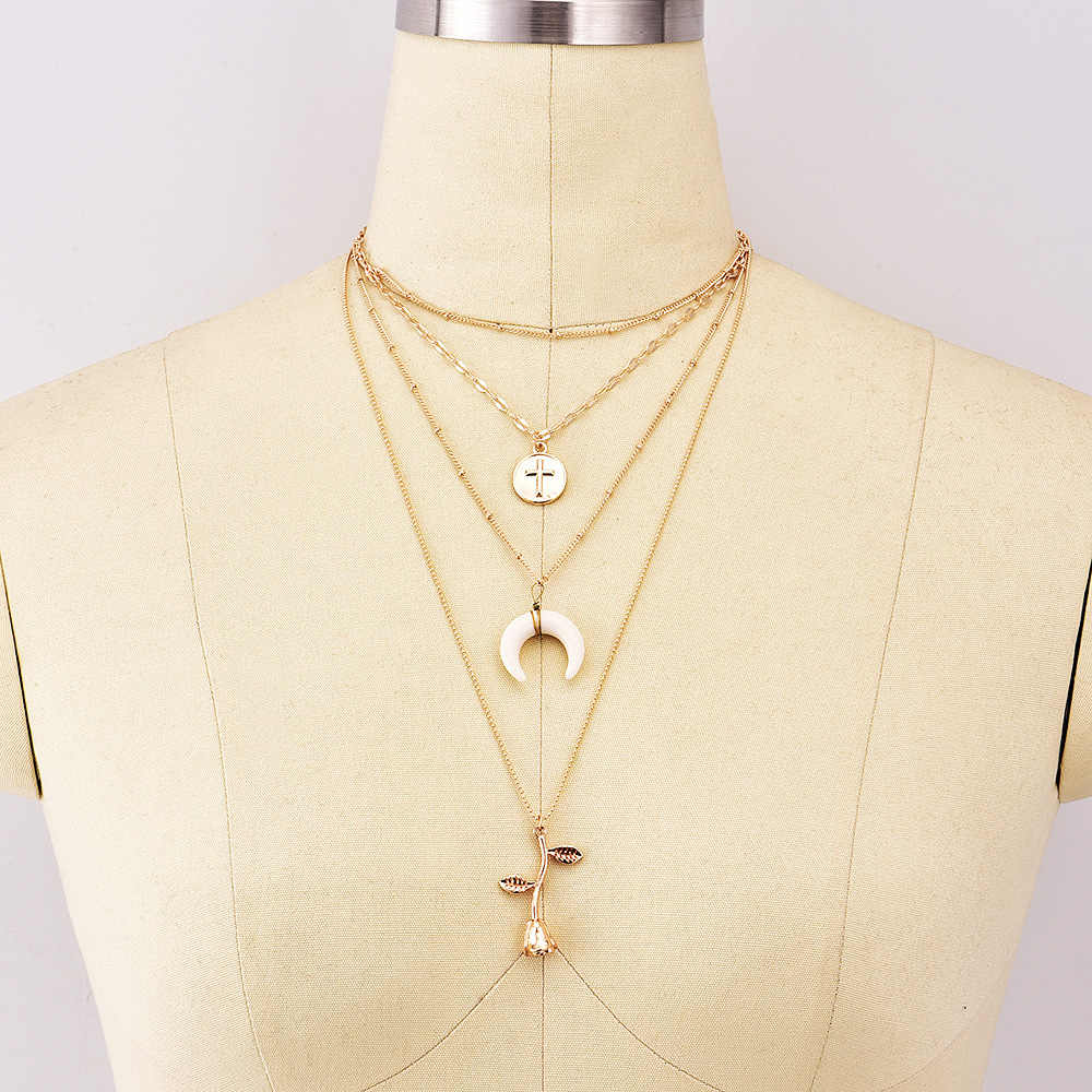 KMVEXO ใหม่แฟชั่นสี Vintage Boho เครื่องประดับ 4 ชั้น Cross Moon ดอกไม้ Choker สร้อยคอ Nice ของขวัญผู้หญิง collier