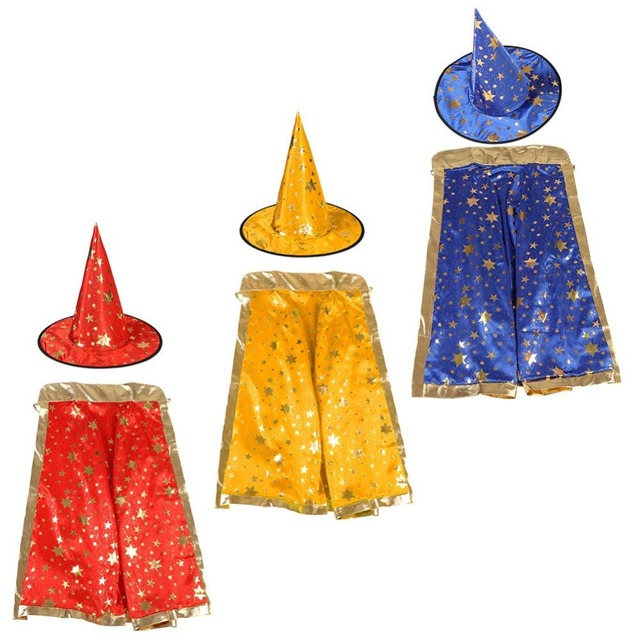 NEW Kids Witch Wizard Cloak Hat Set Shinng Stars Pattern for Halloween Cosplay Wizard Cloak Hat Cosplay Set kids children gifts