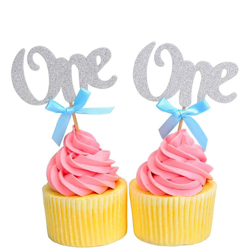 Image 3 - 6pcs One Glitter Paper Cupcake Toppers 1st Birthday Party Decorations First Baby Boy Girl My 1 Year I am One Supplies-in Ballons & Accessories from Home & Garden