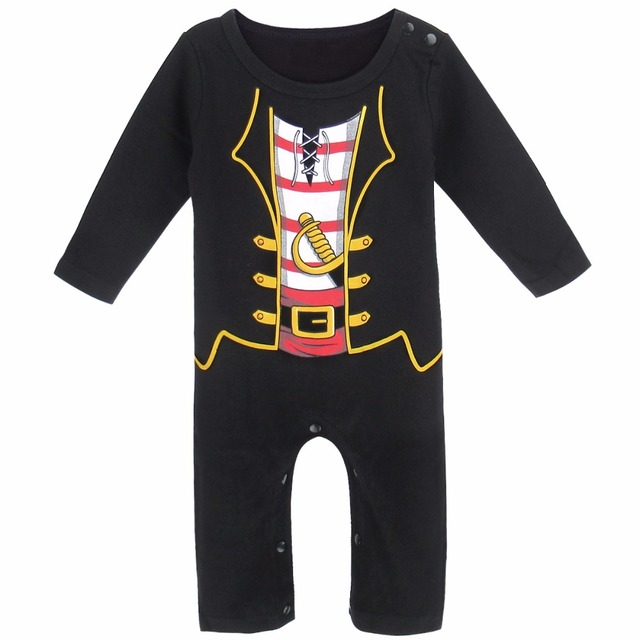 Halloween Bébé Garçon Pirate Costume Barboteuse Infantile Parti Mignon Salopette Manches Longues