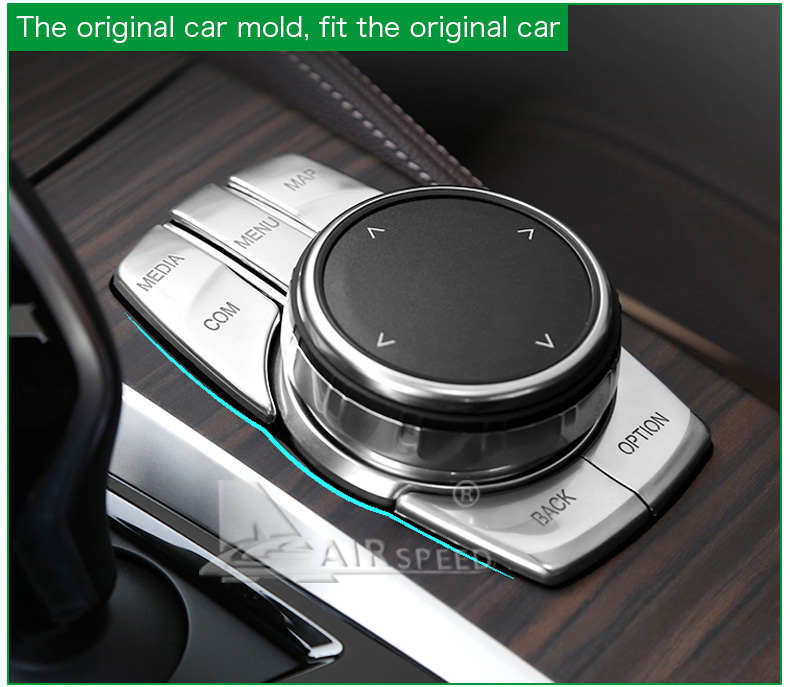 Airspeed for BMW 5 Series G30 528i 530i 540i Accessories Car Multimedia Buttons Cover ABS Interior Decoration Car Styling (10)