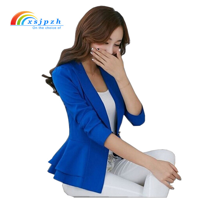afb1b8a1179 XSJPZH 2017 Plus Size Blazers Jackets For Women Royal Blue Blazer Candy  Color Slim Suit Flouncing Long-Sleeved Blazer YC050