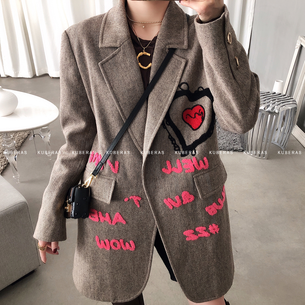 New Winter Women Wool Blazer Letter Embroidary Coat High Quality Vintage Casual Blazers Hot Sale