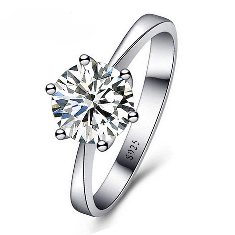 3409d0a605c6 JEMMIN mujer boda compromiso clásico anillos de dedo Super brillante Cubic  Zircon de cristal de Plata de Ley 925 joyería de regalo