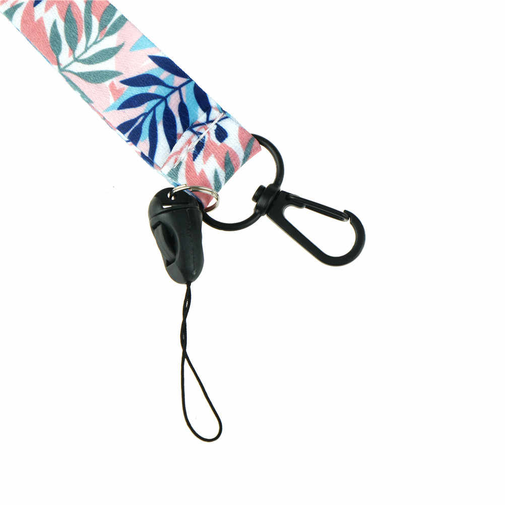 DIY smycz na szyje smycze na klucze ID Card Gym paski do telefonu pokrowiec na karty USB telefon ozdobny pasek świeże liście smycz na okulary przeciwsłoneczne