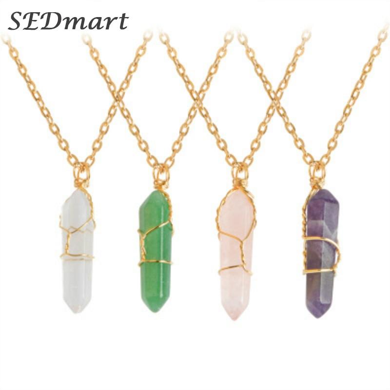 SEDmart Веселка дроту загорнуті флюорит природний камінь кулон намисто ручної роботи нерегулярні зцілення кристал комір намисто жінок  t