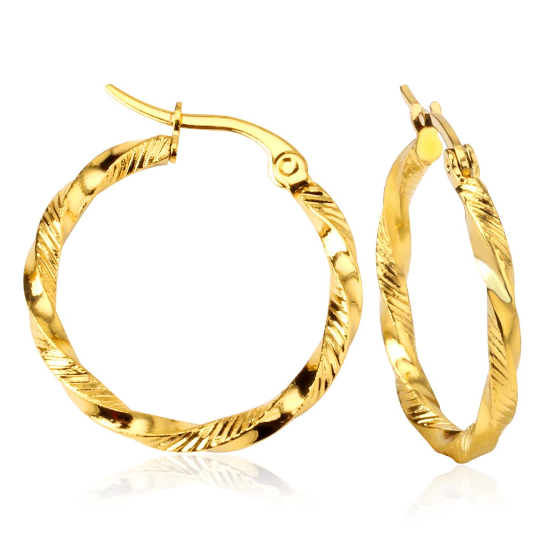 LUXUSTEEL Neue Vintage Schmuck Marke Ohrringe Titan Stahl Gold Hoop