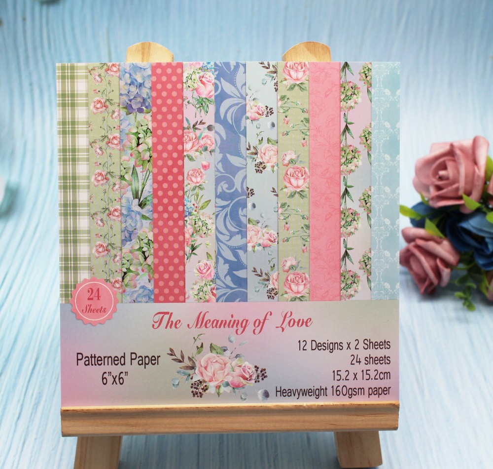 6''Single-side Printed LOVE&Flower Craft <font><b>paper</b></font> For wedding card Decorative Scrapbooking <font><b>paper</b></font> printed background craft <font><b>paper</b></font> image
