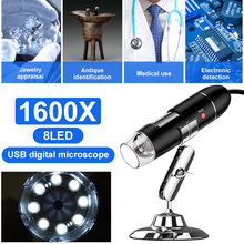 2019 USB Microscope Camera 1600X 1000X 500X 8 LED USB Electronic Microscope Digital Microscope Magnifier Endoscope Microscopio цена в Москве и Питере