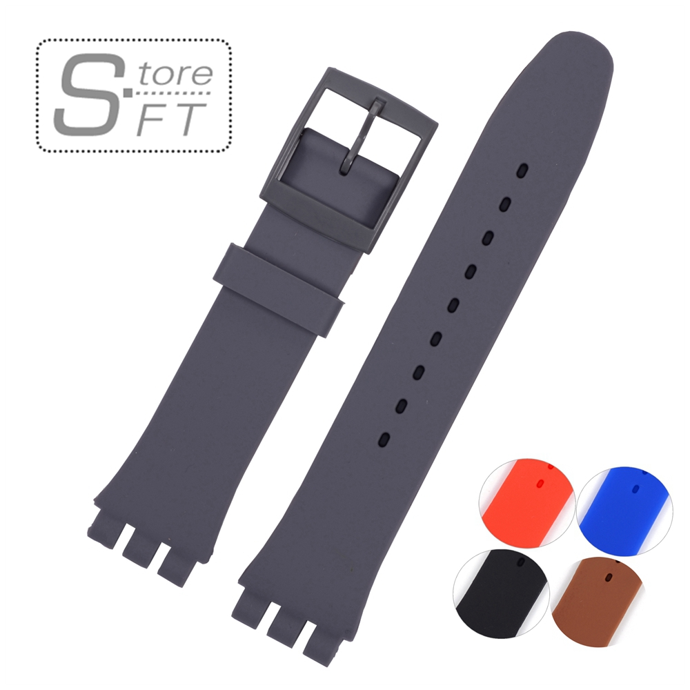 EACHE  Silicone Watch Band Strap Replacement Watch Band Can Fit for SWATCH 17mm 19mm Men Women eache silicone watch band strap replacement watch band can fit for swatch 17mm 19mm men women