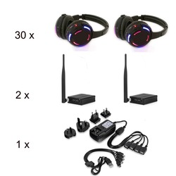 Silent Disco LED Rechargeable Wireless Headphones package 30pcs with 2 transmitters