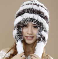 Russian Style Real Rex Rabbit Knitted Fur Caps Women Winter Hat With Earflaps