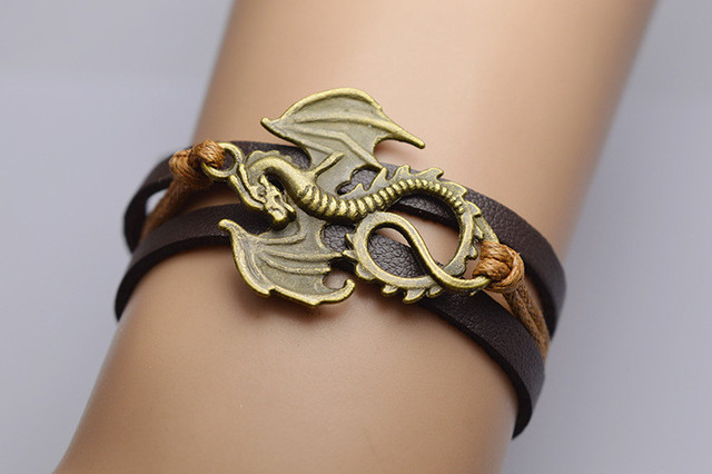 """""""Song Of Ice And Fire"""" Leather Dragon Bracelets  1"""