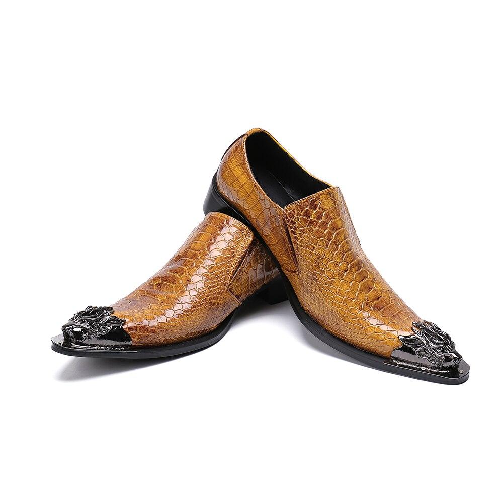 Del Dedo Patrón Bella Fiesta Serpiente Genuino Hombre Marrón Nuevo Formal Vestir Negocios Los De Cuero Pie Zapatos Hombres Puntiagudo Oficina Christia 6ZSFqwZ