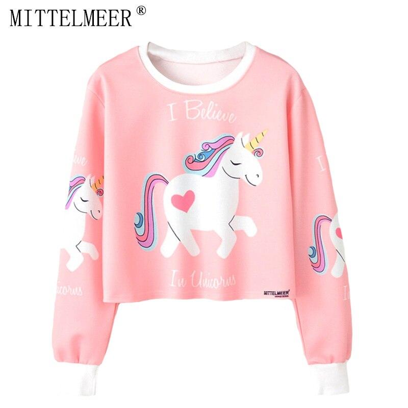 MITTELMEER 2018 bts Harajuku Sweatshirt Woman girls crop top Cartoon unicorn cat Animal fruit printing short Sweatshirt Hooded