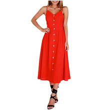Ruiyige Sexy Solid Casual Summer Dress Backless Spaghetti Strap Buttons Women Dresses Pocket Beach Mid-Calf Vestidos Female