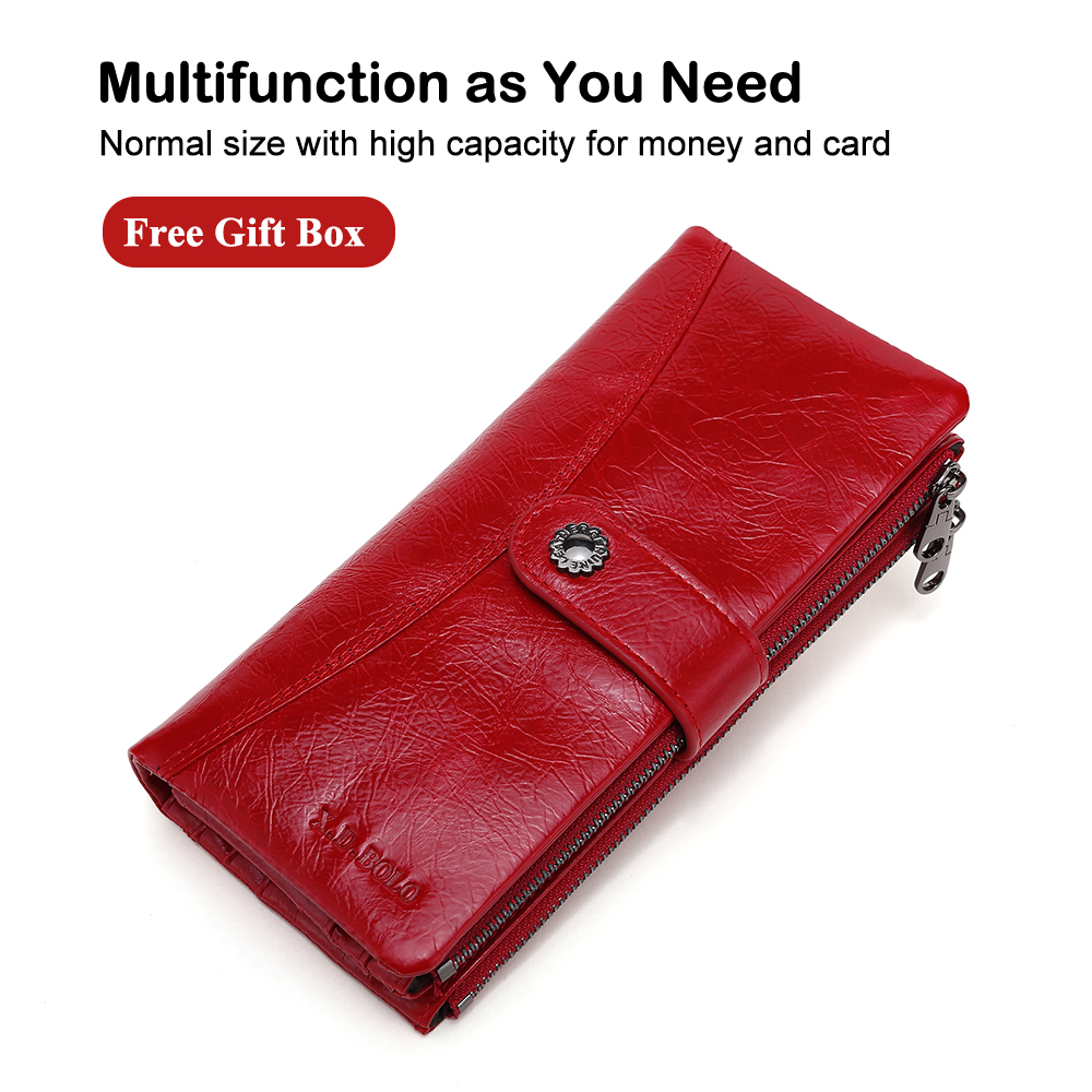 X.D.BOLO Fashion Wallets Women Genuine Leather Wallet High Capacity Card Holder Long Wallet Double Zipper Female Clutch Purse