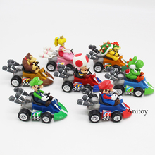Super Mario Brothers Mario Luiji Peach Bowser Toad Donkey Kong Yoshi Pull Back Racers Car PVC Figure Collectible Toy 7 Styles