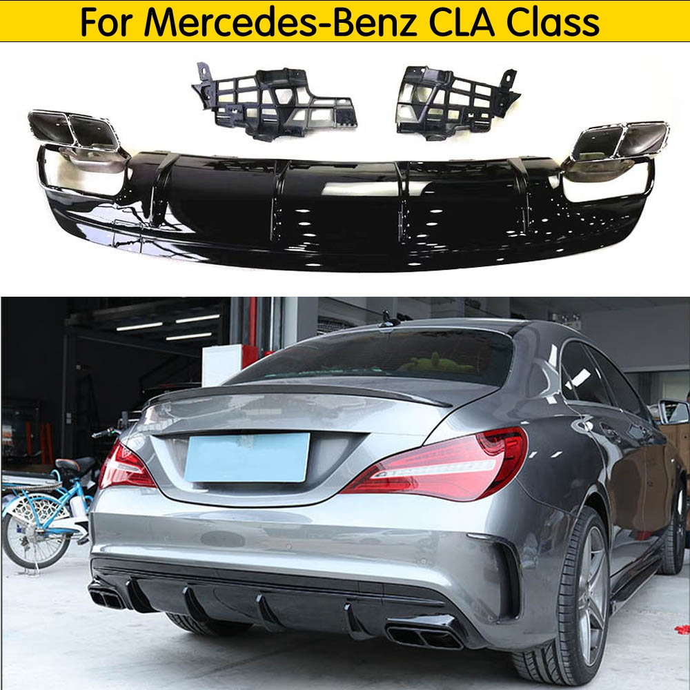 CLA Class PP Rear Bumper Lip Diffuser with Exhaust Tips for Mercedes Benz CLA Class W117 CLA260 CLA45 AMG 2013 2018|Bumpers| |  - title=