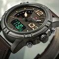 Homens esporte relógios naviforce marca de luxo duplo mostrador do relógio para homens analógico digital relógio eletrônico relógio de quartzo 30 m à prova d' água